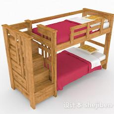 木质儿童床上下铺3d模型下载