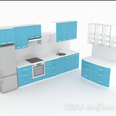 天蓝色上下层整体橱柜3d模型下载