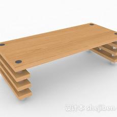 黄色木质餐桌3d模型下载