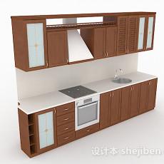 一字型原木风整体橱柜3d模型下载