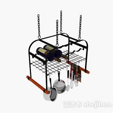 黑色悬挂式厨房厨具架3d模型下载