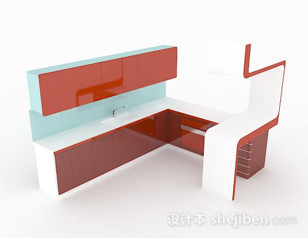 红色L型上下式整体橱柜