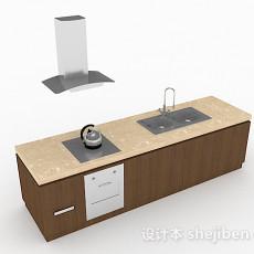现代风格简约一字型整体橱柜3d模型下载