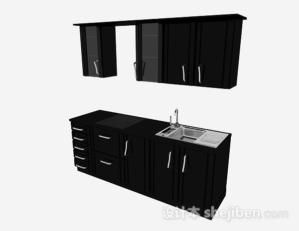 现代风格黑色一字型上下式整体橱柜