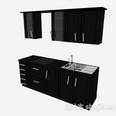 现代风格黑色一字型上下式整体橱柜3d模型下载