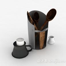 简易厨房用具收纳桶3d模型下载