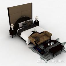 欧式古典双人床3d模型下载