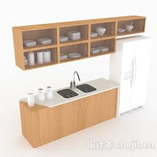 简约白色上下式厨房橱柜3d模型下载