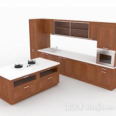 棕色木质组合型整体橱柜3d模型下载