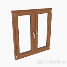 现代风格木质双门平开窗3d模型下载