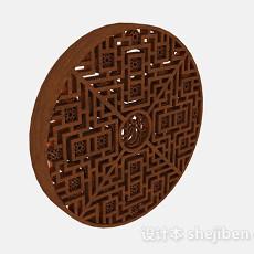 中式木质圆形镂空隔断3d模型下载