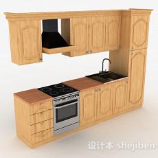 欧式一字型上下层整体橱柜3d模型下载