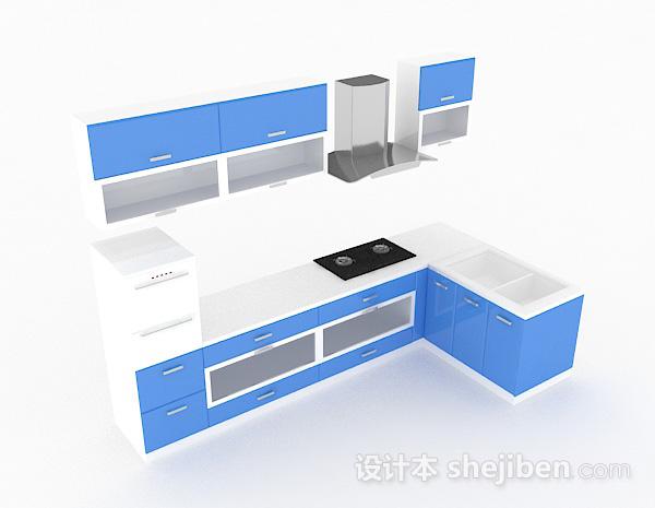 蓝色上下式L型整体橱柜