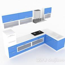蓝色上下式L型整体橱柜3d模型下载