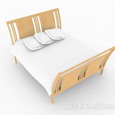 木质简约双人床3d模型下载
