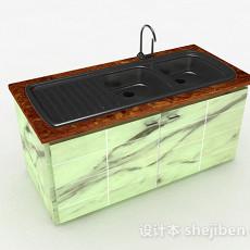 简约时尚厨房洗碗槽3d模型下载