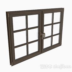 现代风格棕色木质双门平开窗3d模型下载