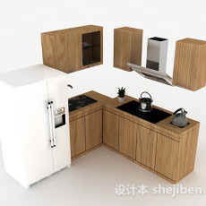 现代风格木质上下2层整体橱柜3d模型下载