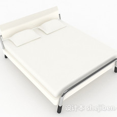 白色简约双人床3d模型下载