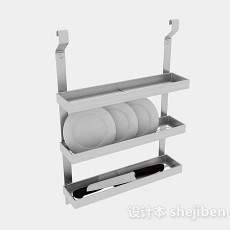 银色不锈钢三层晾碗架3d模型下载
