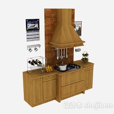木质上下式整体橱柜3d模型下载