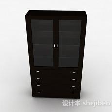 简约木质书柜3d模型下载
