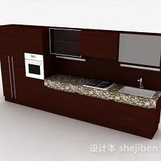一字型现代风格整体橱柜3d模型下载