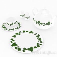 田园风格陶瓷茶具3d模型下载