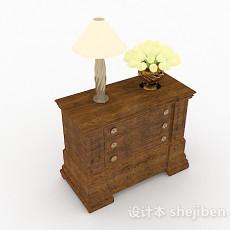 棕色木质床头柜3d模型下载
