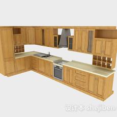 现代风格原木色L型上下层时尚橱柜3d模型下载