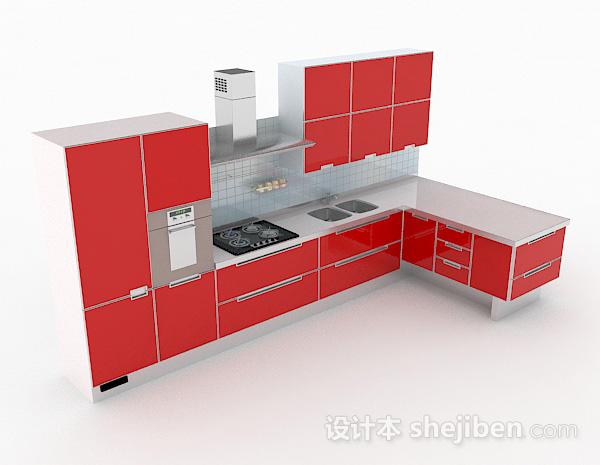 正红色L型整体橱柜
