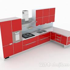 正红色L型整体橱柜3d模型下载