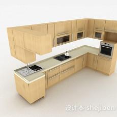 现代风格米黄色时尚整体橱柜3d模型下载