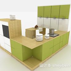 现代小清新浅绿色整体橱柜3d模型下载