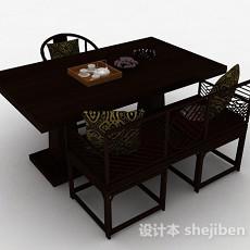 中式家居餐桌椅组合3d模型下载