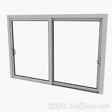 现代风格白色铝合金左右推拉窗3d模型下载
