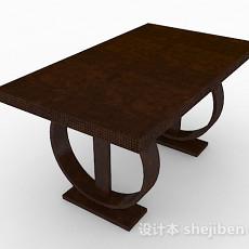 棕色木质餐桌3d模型下载