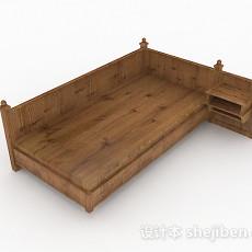 棕色简约木质单人床3d模型下载