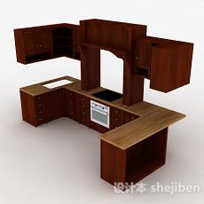现代风格U型整体橱柜3d模型下载