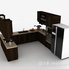 欧式风格U型木质整体橱柜3d模型下载
