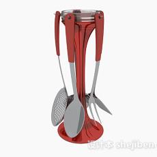 酒红色厨房厨具悬挂架3d模型下载