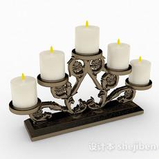 奢华欧式风格金属雕花烛台摆件3d模型下载