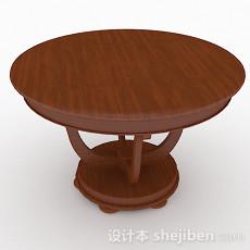 棕色圆形餐桌3d模型下载