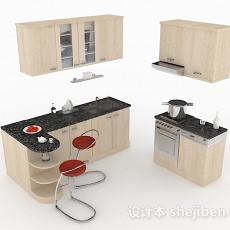 米白色L型木质整体橱柜3d模型下载