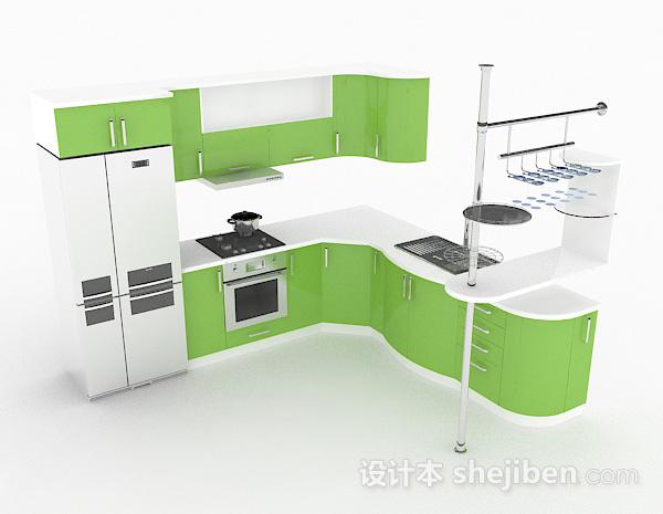 青草绿L型整体橱柜
