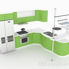 青草绿L型整体橱柜3d模型下载
