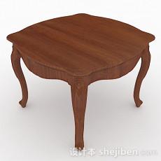 复古棕色木质餐桌3d模型下载