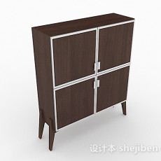 深棕色简约家居木柜3d模型下载