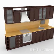 枣红色上下层木质整体橱柜3d模型下载
