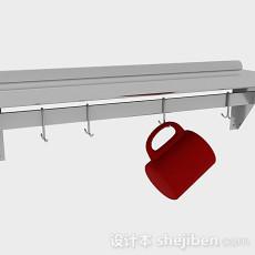 不锈钢金属厨房厨具悬挂架3d模型下载